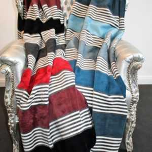 "Ibena Wolldecke Heimdecke Decke ""Elva"" Streifen Rot Blau 150 x"