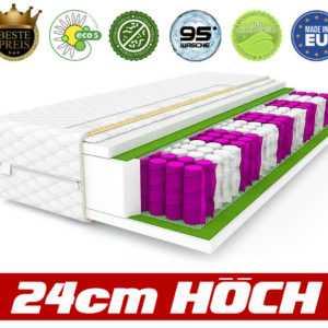Matratze Premium 90 x 200 Matratzen 9 zonen 24 cm Federkernmatratze