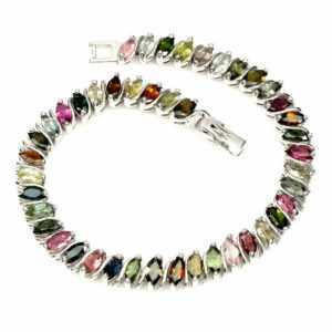 TOP TOURMALINE BRACELET : Natürliche Mehrfarbig Turmalin Armband 925 Silber B127