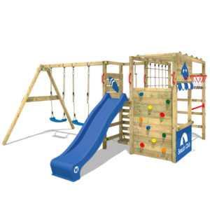 WICKEY Klettergerüst Spielturm Smart Zone - Holz-Kletterturm mit Doppelschaukel
