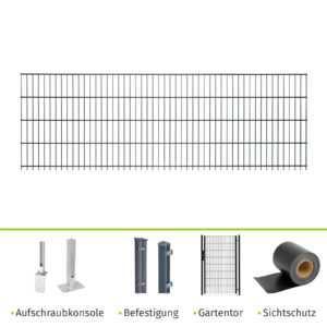Doppelstabmattenzaun Doppel-Stab Matten Zaun anthrazit 83 Gartentor Sichtschutz