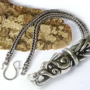 fett 925er Silberkette L55 Drachenkopf Verbinder Handgeflochten Wikingerkette