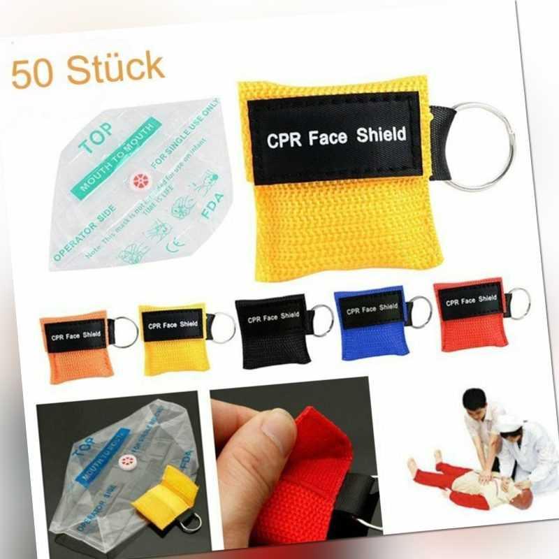 50x Beatmungsmaske Beatmungstuch Beatmungsfolie Erste Hilfe Notfall CPR Maske
