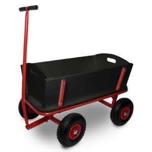 Bollerwagen Transportwagen Handwagen Luftreifen - schwarz / rot
