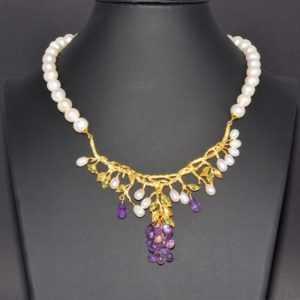 925 Sterling Silber Collier, Gelbgold beschichtet, Amethyst Smaragd Creme Perlen