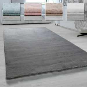 Hochflor-Teppich Shaggy-Teppich Wohnzimmer Weich Uni Versch. Größen und Farben
