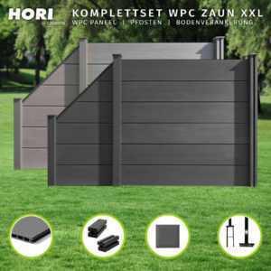 WPC Zaun Sichtschutzzaun Lamellenzaun Gartenzaun XXL grau anthrazit 180 cm