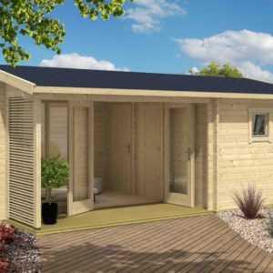 44 mm Gartenhaus Dundee Gerätehaus ca 595x390 cm Blockhaus Holzhaus Schuppen