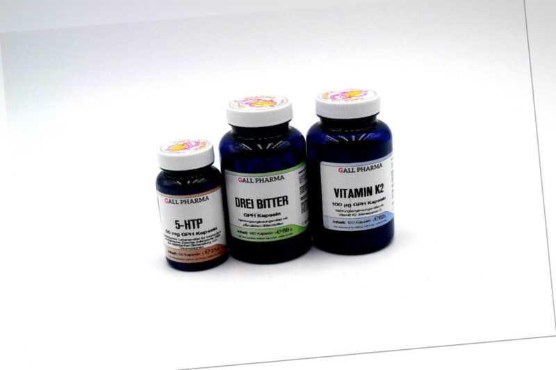 Gall Pharma Vitamin K2 120 Kaps. + 5-HTP 50mg 60 Kaps.+ Drei Bitter 180 Kaps.