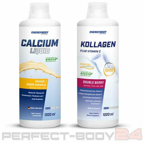 (12,50€/L) Energybody 1x Kollagen + 1x Calcium Liquid Vitamine Stevia Fitness