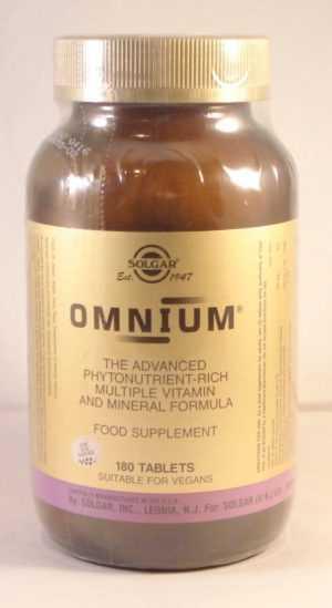 Solgar Omnium Multiple Vitamin & Mineral Formel 180 Tabletten Bbe 01/21