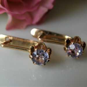 Antike Ohrringe 583° Gold Blüte Alexandrit-Korund Russland Biedermeier 1950 O980