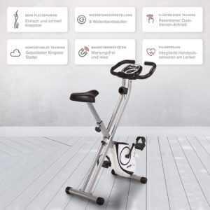 SportPlus X-Bike, mit Pulsmessung, Heimtrainer, Cardio Platzsparend klappbar 1k2