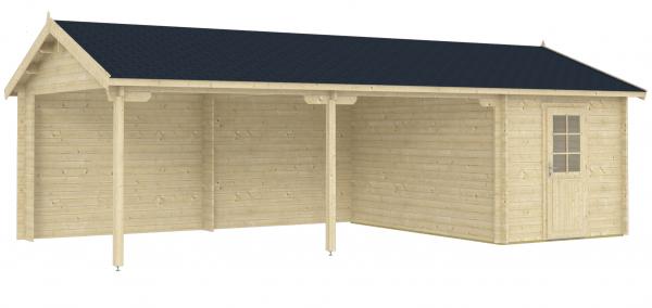 Doppel-Carport-Garage Rauma 40-Iso 8,36x4,15m + Abstellraum inkl. 28mm Holzboden
