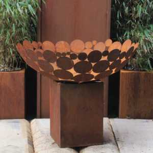 Feuerstelle Schale d = 80 cm mit tiefem Sockel eckig 40 cm Feuerkorb Stahl rost