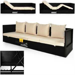 Poly Rattan Sonnenliege Gartenliege Garten Sofa Lounge Liege Couch Gartenmöbel