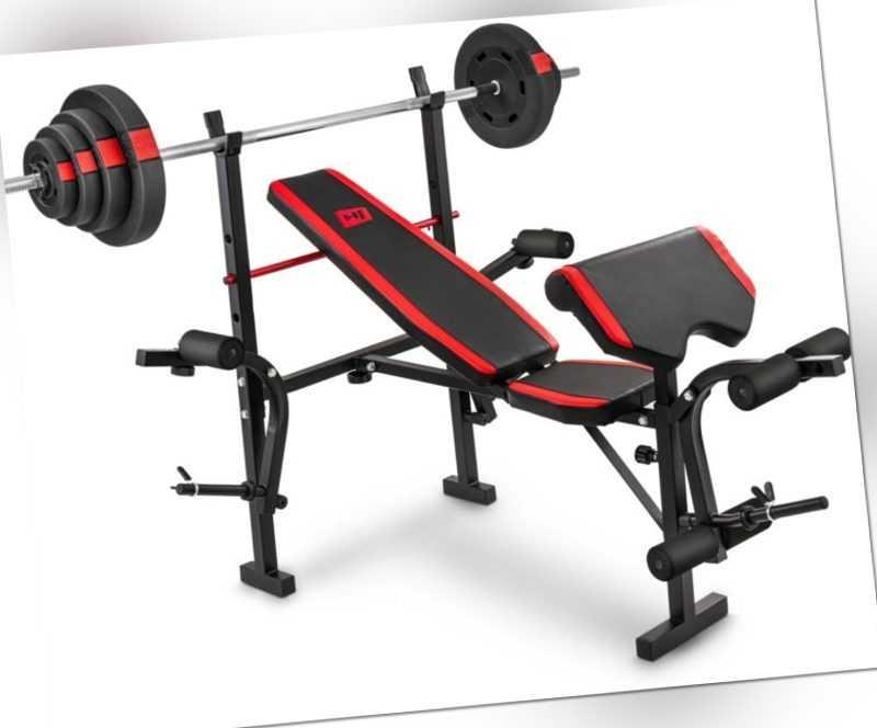 Hop-Sport Hantelbank Kraftstation mit Langhantel Set Stange Gewichte 30/60/90 kg
