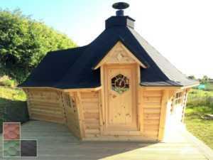 Finn Art Grillkota Exklusiv 9,2 m² mit Anbau und Grillanlage konisch Grillhütte