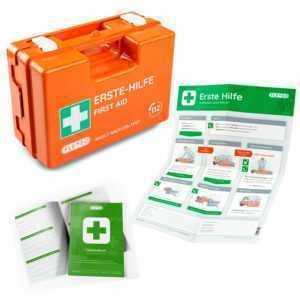FLEXEO Erste-Hilfe Koffer - DIN13157 - orange - SET - Verbandbuch - Anleitung
