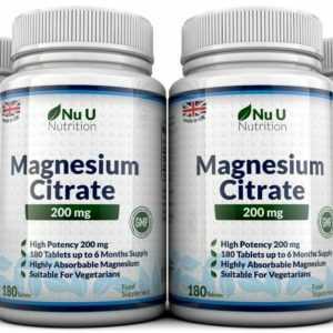 Magnesiumcitrat 200mg 4 Flaschen 180 Tabletten Hergestellt in UK Geld Zurück