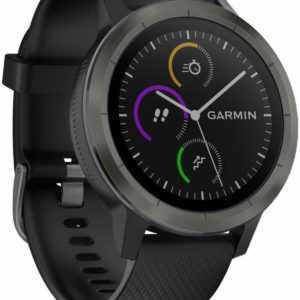 Garmin FitnessTracker Vivoactive 3 Schwarzes Silikonarmband Gunpowder Smartwatch