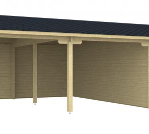 Doppel-Carport-Garage Vaasa 70-Iso 8,36x5,95m + Abstellraum inkl. 28mm Holzboden