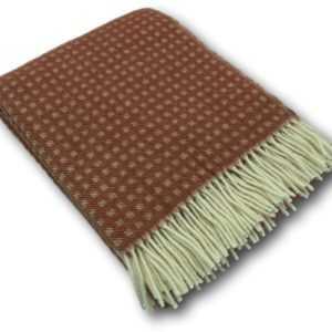 Wolldecke Tagesdecke Überwurf Wollplaid Decke 100% Wolle rot/creme