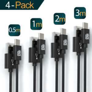 4x USB-C Kabel Schwarz Schnell Ladekabel Datenkabel für Samsung S10 S9 Huawei
