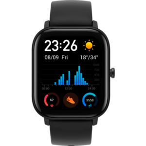 AMAZFIT GTS, Smartwatch, Silikon, 120 mm + 87 mm, Obsidian Black