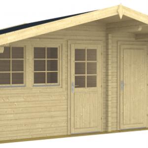 Gartenhaus Pedro 70-A 4,45 x 3,20 m Blockhaus mit Abstellraum und Vordach 1,50