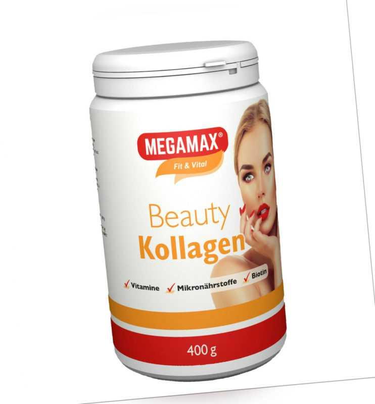 MEGAMAX Beauty Kollagen Pulver Collagen Plus L-Cystein, Mangan- Urspr. Rind