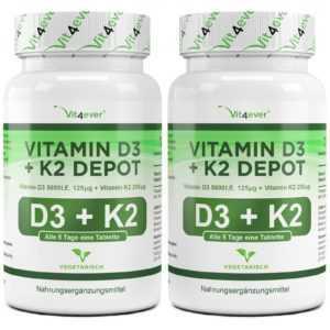 2x 180 Tabletten Vitamin D3 5000 IU & Vitamin K2 200mcg MK-7 Menachinon-7 (v)