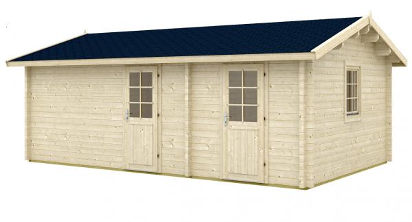 Gartenhaus Blockhaus Sanna 70 Iso 6,20 x 4,20 m Doppelhaus 2 Räume + 28mm Boden