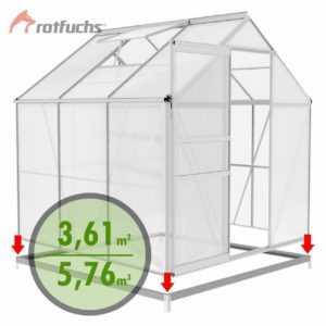 Rotfuchs ALU Gewächshaus mit Fundament Treibhaus Tomaten Gartenhaus 5,76 m³