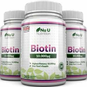 Biotin 10,000mcg 3 Flaschen 365 Tabletten Unterstützt Gesundes Haar und Nägel