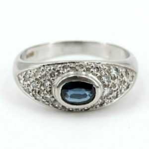 Diamant Saphir Platinring Gr 53 24 Brillanten ca. 0,24ct SI1 H Saphir ca. 0,35ct
