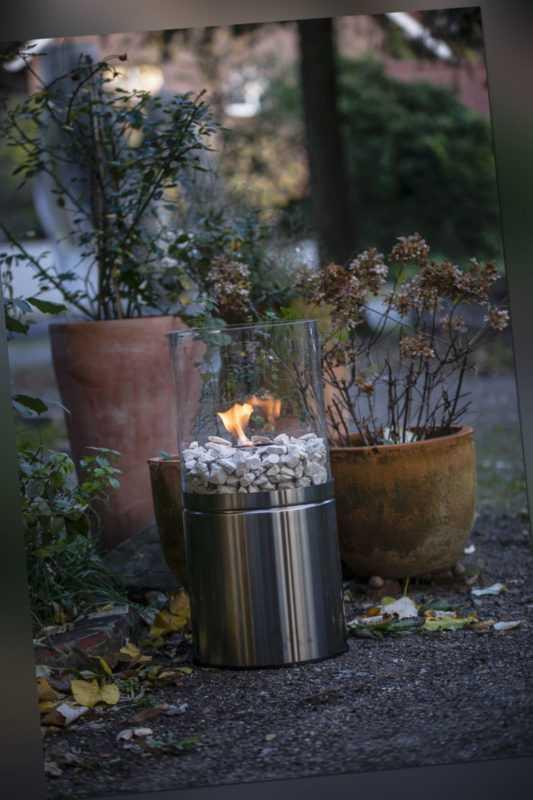 Bio-Ethanol Tisch-Kamin Glasfeuer Innen Außen Feuerstelle 63 cm Blank Edelstahl