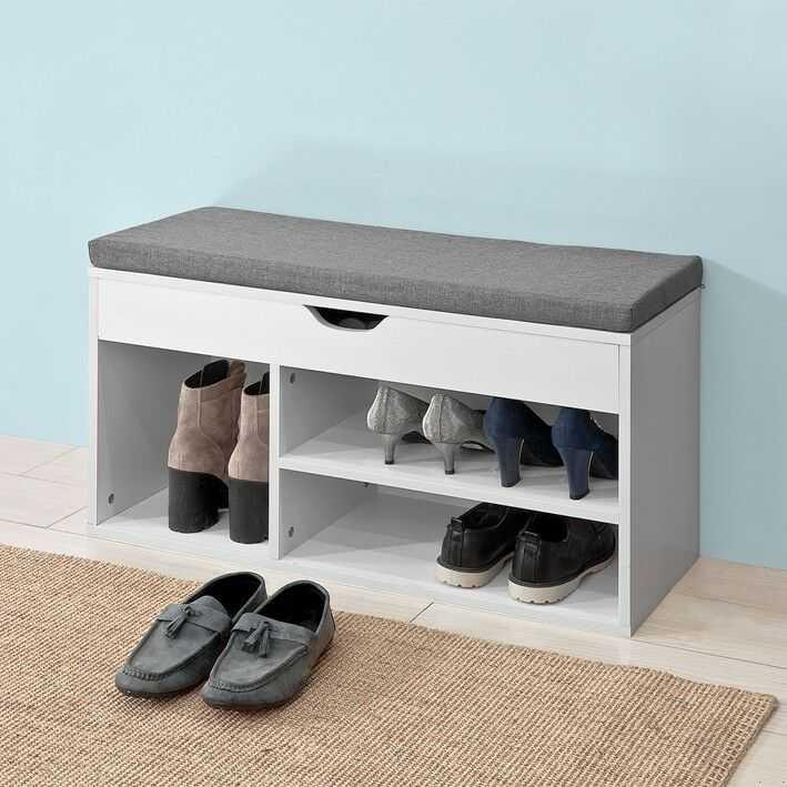SoBuy® Schuhbank mit Sitzkissen Sitzbank Schuhschrank Schuhregal,Weiß,FSR45-HG