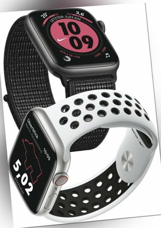 Apple Watch Nike+ Series 5 Cell (LTE) 44 mm Alu silver, Sport platinum/black