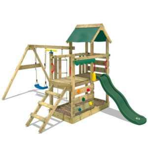 WICKEY Spielturm Klettergerüst TurboFlyer Kletterturm - grüne Schaukel