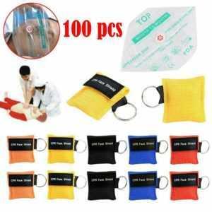 Neu 100X CPR Face Shield Beatmungsmaske Beatmungstuch Beatmungs Erste Notfall