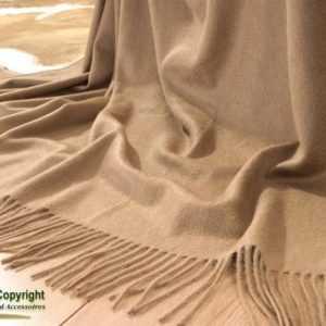 100% Kamelhaar - Plaid mit Wasserglanz-Veredelung, edle Wolldecke