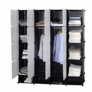 Regalsystem Kleiderschrank Steckregal Garderobe 16 Würfel DIY mit Türen Schwarz