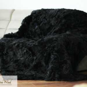 Schwarz Decke / Überwurf Toskana 100% Wolle Lammfell Teppich