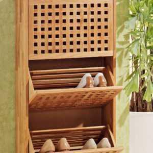 Schuhregal Schuhschrank mit 3 Türen aus Walnuss Holz