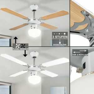 Raum Ventilator Lüfter Kühler Wärmer Decken Lampe Flügel wechselbar mit Leuchte