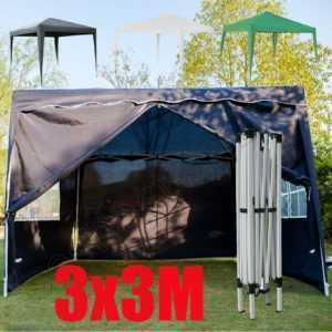 Pop-Up Pavillon Klapp Falt Pavillion 3x3m Gartenzelt Partyzelt WASSERDICHT Seite
