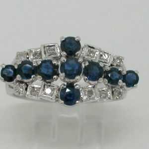 Saphir Ring 585 Weißgold 14Kt Gold 9 Saphire 12 Diamanten