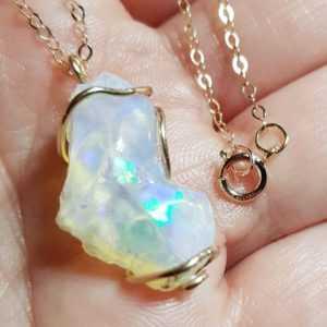 äthiopischer Opal Anhänger, Kettenanhänger Kette, xxl, goldfill, gold filled, GF