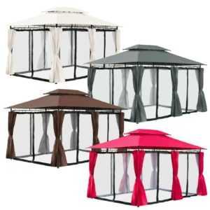 Arebos Pavillon 3x4 Meter Partyzelt Gartenzelt Gartenpavillon mit Moskitonetz